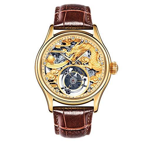 North King Piedras Preciosas mecánico Reloj Lujo Amarillo...