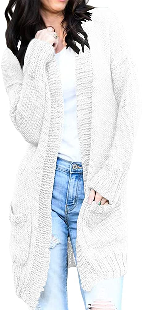 Pfvkeree Womens Open Front Sweaters Cardigan Long Sleeve Solid Color Knit Outwear Cardigans with Two Pockets