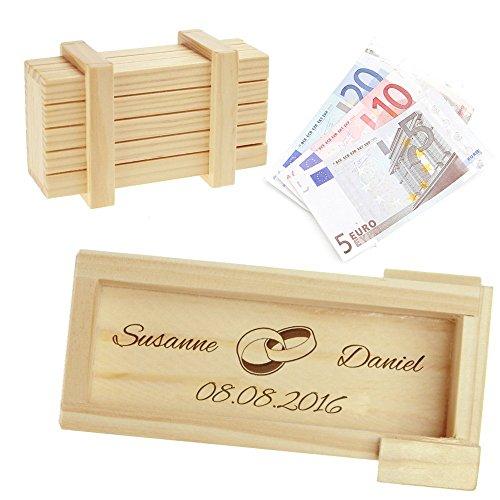 Casa Vivente Magische Geschenkbox aus hellem Holz mit Gravur zur Hochzeit – Motiv Ringe – Personalisiert mit Namen und Datum – Knobelspiel