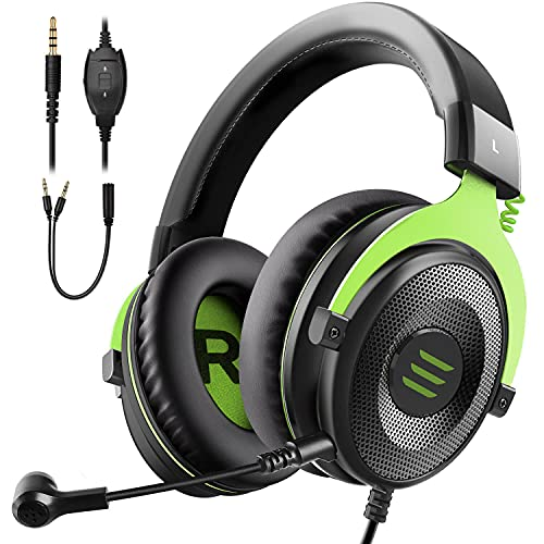 EKSA Gaming Headset for Xbox - PC Headset Wired Gaming Headphones with Noise Canceling Mic, Over Ear Headphones Compatible with PS4, Xbox One, PC, Mac, Laptop(Green)