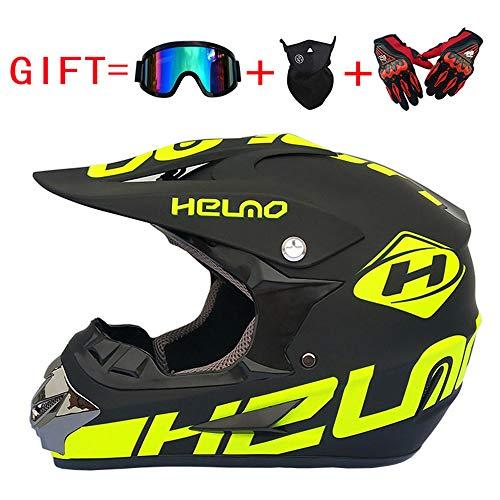 Casco de Descenso para Adultos Regalos Gafas máscara Guantes BMX MX ATV DH Carrera en Bicicleta de Cara Completa Casco Integral
