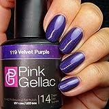 Pink Gellac Colour 119 Velvet Purple 15ml UV/ LED Gel Nail Polish by Pink Gellac