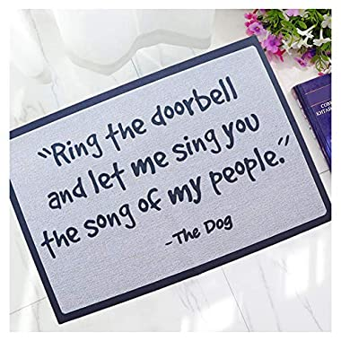 Hidecor Front Door Mat Outdoor Indoor Enter Funny Doormat Outside Large Rubber Thin Non Slip Carpets for Bedroom Kitchen Patio Garden, 2' x 3'(The Dog)
