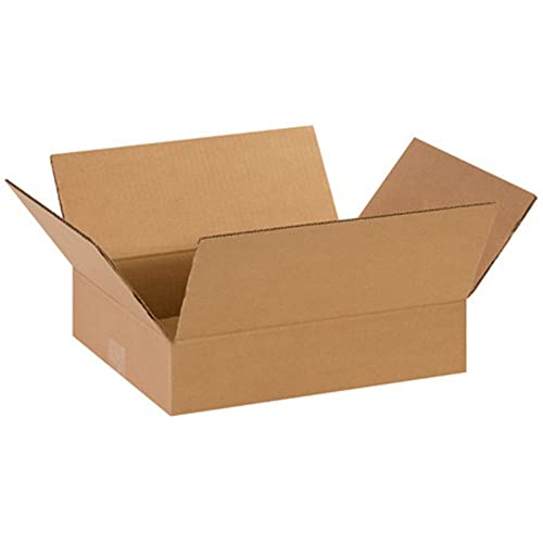 """Aviditi 14113 Flat Corrugated Cardboard Box 14"""" L x 11"""" W x 3"""" H, Kraft, for Shipping, Packing and Moving (Pack of 25)"""
