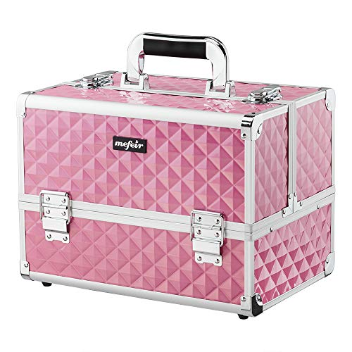 Mefeir Makeup Train Case 12.6'L w/Adjustable Dividers, 4 Trays and 2 Locks, Professional Travel Beauty Cosmetic Trolley Box,Xmas New year Birthday Mother's Day Gift (Pink)