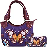 Western Style Butterfly Tooled Buckle Concealed Carry Purse Country Handbag Women Shoulder Bag Wallet Set (#3 Purple)