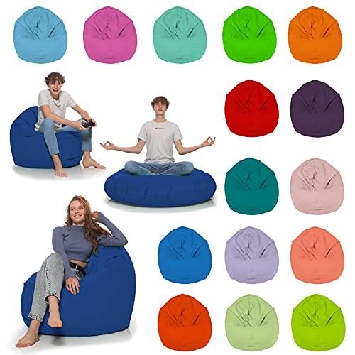 HomeIdeal - Sitzsack 2-in-1 Funktionen Bodenkissen für Erwachsene & Kinder - Gaming oder Entspannen - Indoor & Outdoor da er Wasserfest ist - mit EPS Perlen, Farbe:Blau, Größe:110 cm Durchmesser
