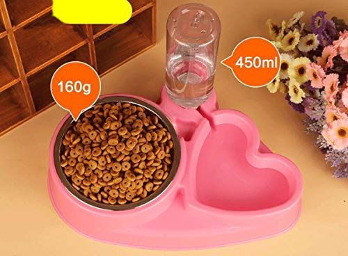 Popowbe Double Pet Bowls Stainless Steel Dog Bowl with No Spill Skidstop Silicone Mat Dog Cat Food Water Feeder with Automatic Water Bottle Pink-160g