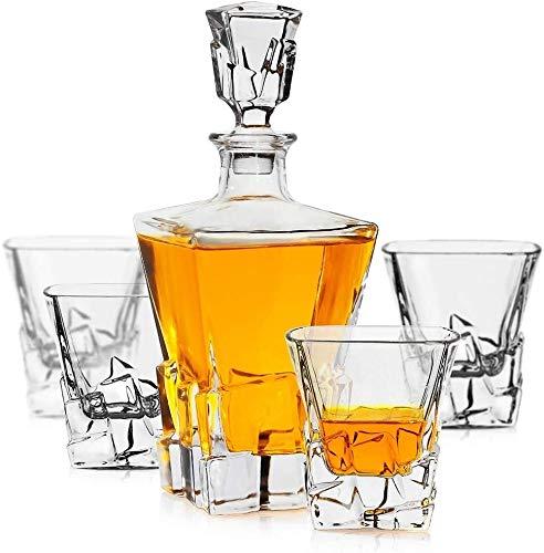 Decantador De Whisky Decantador De Licor Cristal Whisky la jarra, de primera calidad 1 Iceberg whisky Decanter (29 oz) con 4 Iceberg whisky Glasses (10 oz) for Liquor Scotch Bourbon Vodka Brandy o vin