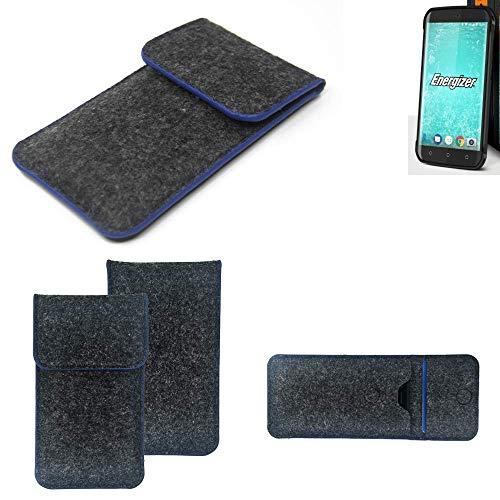 K-S-Trade® Filz Schutz Hülle Für Energizer H550S Schutzhülle Filztasche Pouch Tasche Case Sleeve Handyhülle Filzhülle Dunkelgrau, Blauer Rand