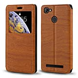 HomTom HT50 Case, Wood Grain Leather Case with Card Holder