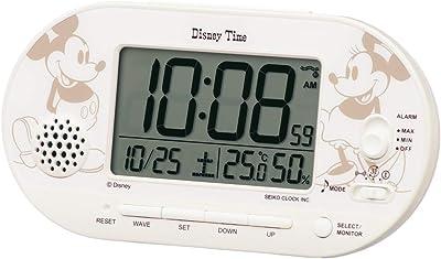 セイコークロック 置き時計 白パール 本体サイズ: 8.1×15.9×4.9cm ミッキーマウス ミニーマウス 目覚まし時計 電波 デジタル FD482A