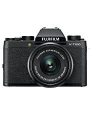 "Fujifilm X-T100 24.2 MP Mirrorless Camera with XC 15-45 mm Lens (APS-C Sensor, Electronic Viewfinder, Face/Eye Detection, 3"" 3-Way Tilt Touchscreen, 4K Video Vlogging, Film Simulations) - Black"