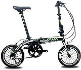 Aoyo Mini Falträder, 14' 3 Speed Super Compact Verstärkter Rahmen Commuter Bike, leichtes, tragbares Aluminiumlegierung-faltbares Fahrrad, Grau, Farbe: grün (Color : Green)