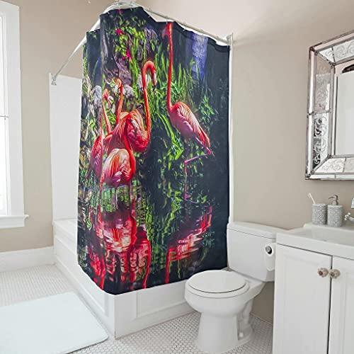 Cortina de ducha antimoho resistente al agua, lavable, antibacteriana, respetuosa con el medio ambiente, de poliéster con anillos de cortina de ducha para baño, color blanco, 150 x 180 cm