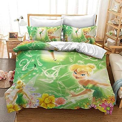 Mliuer Tinker Bell Duvet Cover Set Girl with Wings Fairy Princess Bedding Girls Favorite 100% Polyester 3 Pieces(1 Duvet Cover+ 2 Pillow Shams)