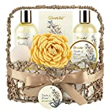 Bath & Body Gift Basket for Women, GentLeaf Spa Gift Set with Vanila Orchid Scent, Home Relaxation Spa Kit for Her 7 Pcs, Contains Bath Bomb, Bubble Bath, Body Lotion and More, Best Women Gift Idea