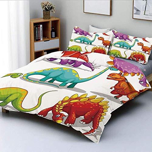 Qoqon Bettbezug-Set, bunt lustig Verschiedene Dino-Sammlung freundliche wild lebende ausgestorbene Tiere Eiszeit dekorativ dekorativ 3-teiliges Bettwäscheset mit 2 Kissen Sham, Mehrfarbig, Best G.