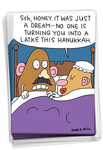 NobleWorks - 12 Happy Hanukkah Cards Boxed (1 Design, 12 Cards) - Funny Religious Chanukkah Notecard Set, Bulk Holiday Greetings - Box of Hanukkah Potatoheads B2483HKG