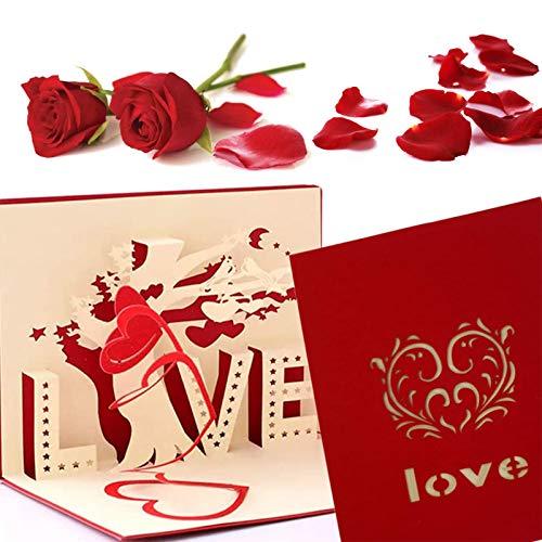 Biglietto di auguri pop-up 3D, Nozze Anniversari Biglietto, Biglietto d'Auguri 3D Pop-up Carta Matrimonio Carta Inviti, per per il compleanno o l'anniversario dell'amante (Rosso Amore)