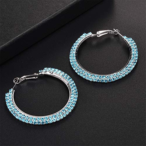 Idiytip Rhinestone Round Crystal Earring Hoop Exaggerated Loops Double Row Diamond Earrings for Women,Light blue