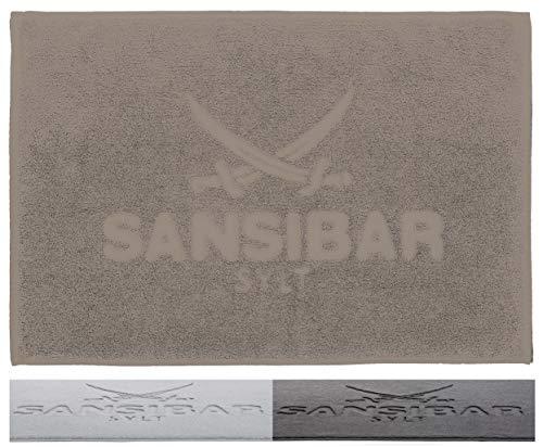 Sansibar Badvorleger 50x80 cm 100% Baumwolle Fein-Flor Badteppich Badematte Taupe Einzeln