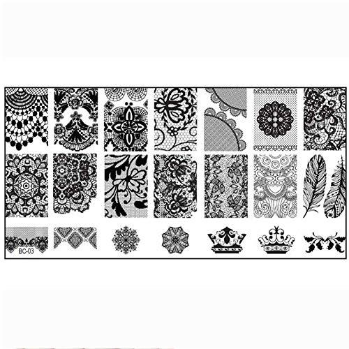 Naisicatar One-Satz-Nagel-Platten-Nagel-Kunst-Stempel-Schablone Schablonen mit Spitze Blumenmuster DIY Maniküre Stamping Nützliche Stamping und Schöne