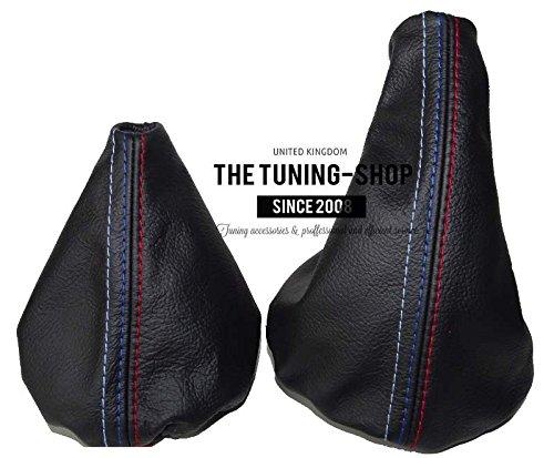 The Tuning Shop Soufflet en cuir gris brod/é bleu
