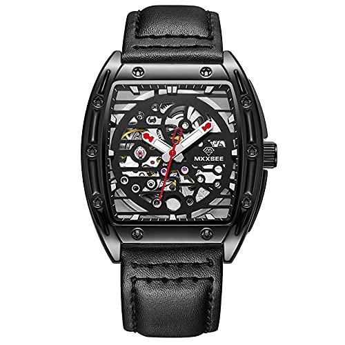 XYQC Relojes para Hombre Reloj automático de Cuerda automática Correa de Cuero Negro Reloj de Pulsera mecánico Luminoso Impermeable Reloj de Vestir de Moda,Negro