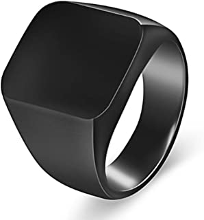 Van Unico Stainless Steel Signet Ring for Men Polished Pinky Ring Size 4-15