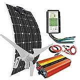 Kit completo de generador de turbina de viento solar 500 W 12 V con inversor de 1000 W: 1 turbina de viento de 400 W + 1 panel solar monocristalino flexible de 100 W + 1 controlador híbrido + cables