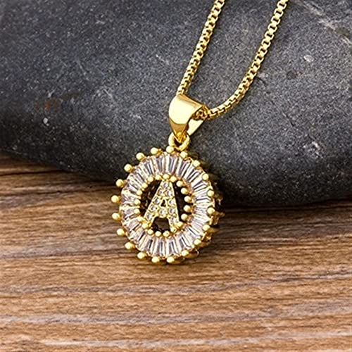Mujeres Niñas con letra inicial collar de encanto nombre collar colgante cobre zircon joyería *1* (Metal Color : 1)