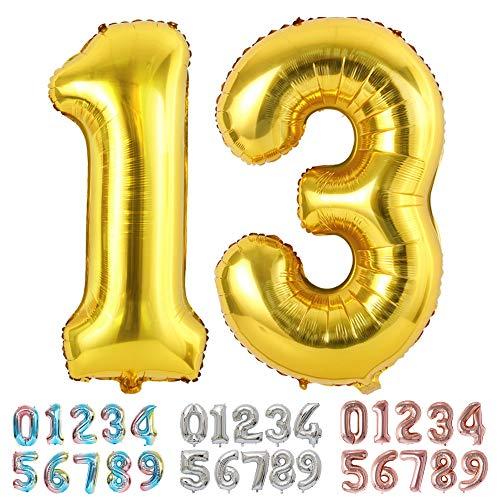 Ponmoo Foil Globo Número 13 31 Dorado, Gigante Numeros 0 1 2...