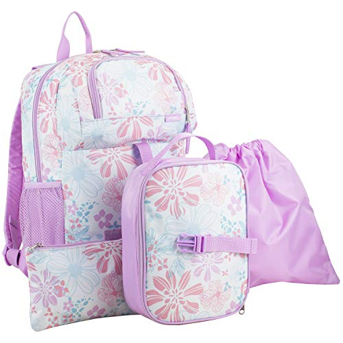 Fuel Everyday 4-Piece Combo Backpack with Lunch Box, Pencil Case and Shoe Pouch - Lovely Lilac/Spring Floral Print