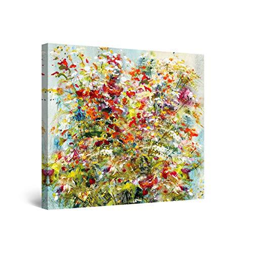 Startonight Impression sur Toile Bouquet de Fleurs sur la Table de la Cuisine - Tableau Abstrait - Decoration Murale Salon Moderne - Image sur Toile - 80 x 80 cm