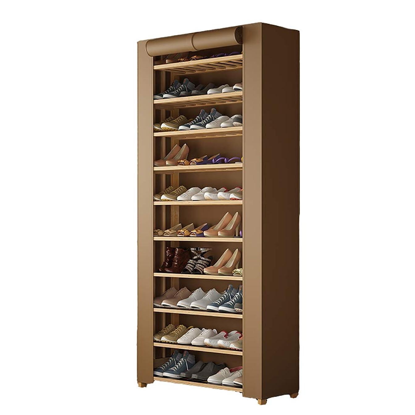 カーテン野心学ぶ靴ラック多層防塵倉庫家庭靴キャビネット (色 : Brown)