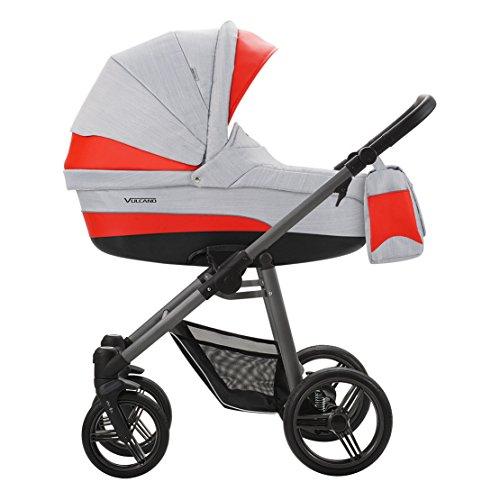 Bebetto Vulcano S-line Leder Modernes Travelsystem Kinderwagen Babywagen Buggy Kinderwagen System + Wickeltasche + Regenschutz + Insektenschutz (3in1 (inkl. Babyschale), S-LINE SL03G GREY-RED)