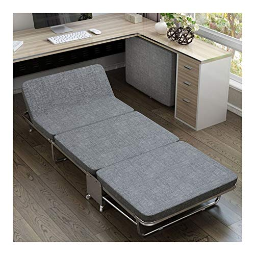 GYYARSX Folding Bed Easy To Fold Sponge Hardwood Board Bed Metal Frame Office Convenient Home Nap Bed,3 Colors, 2 Sizes (Color : Gray, Size : 180X65X26CM)
