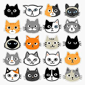Leyland Designs Assorted Cat Faces | Cute Quirky Kitty Cat Drawings Sticker Outdoor Rated Vinyl Sticker Decal for Windows Bumpers Laptops or Crafts 5