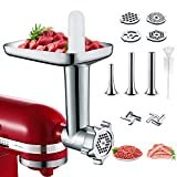 Metal Meat Grinder Attachments for KitchenAid Stand Mixers, Cofun Accessories Included 4 Grinding Plates, 3 Sausage Stuffer Tubes, 2 Grinding Blades, Durable Food Grinder Attachment for KitchenAid