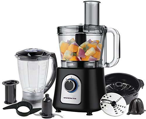 Ovente Electric Food Processor with Blender, Chopper & Citrus Juicer, 12 Cup Bowl, Dough Maker, Grating Disc, Shredder Plate, 120V 800 Watts, Matte Black (PF7007B)