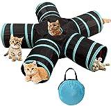Vegena Túnel para gatos de 3 vías para mascotas, túnel plegable para mascotas, túnel de juego para gatos, cachorros, gatos, gatos, gatos, conejos (5 azul)