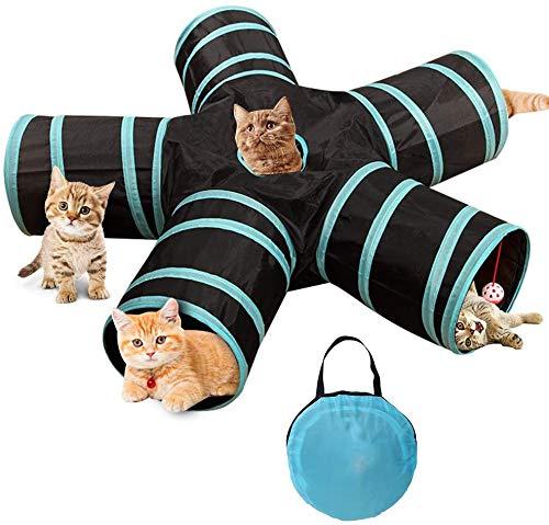Katzentunnel Katzenspielzeug 5-Wege-Katzentunnel Katzen-Tunnel Pet Play Tunnel Katze Tunnel Tube Faltbarer Haustier Tunnel Spieltunnel Katzenspielzeug Tunnel für Katze WelpeKätzchen Kaninchen