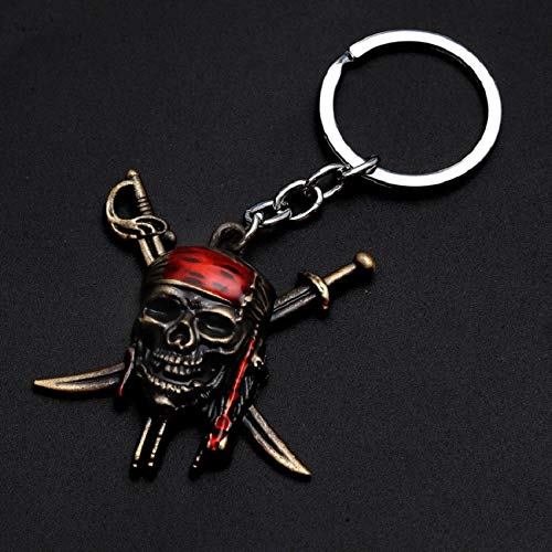 MINTUAN Piratas del Caribe Llavero Capitán Jack Sparrow Máscara Calavera con Tibias Cruzadas Llavero Hombres Regalos