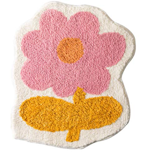 tjz Fashionable Personality Flower Bathroom Absorbent Bathroom Entrance Floor Mats Household Machine Washable Carpets Non-slip Absorbent Comfortable Easy to Clean