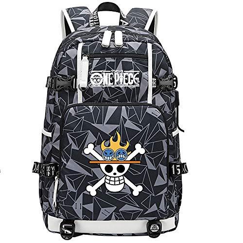 ZZGOO-LL One Piece Monkey·D·Luffy/Portgas·D· Ace Mochila con para Mujer, Mochila de Viaje Suave, Mochila para Escuela, Notebook, Mochilas para niñas con USB-E