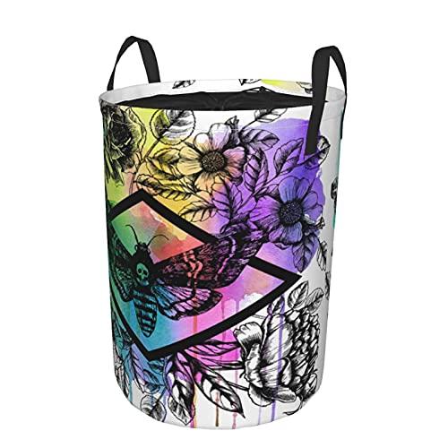 Cesto de lavandería redondo, polilla de halcón de cabeza de la muerte y flores florales, cesto de lavandería plegable impermeable con cordón,21.6'X16.5'
