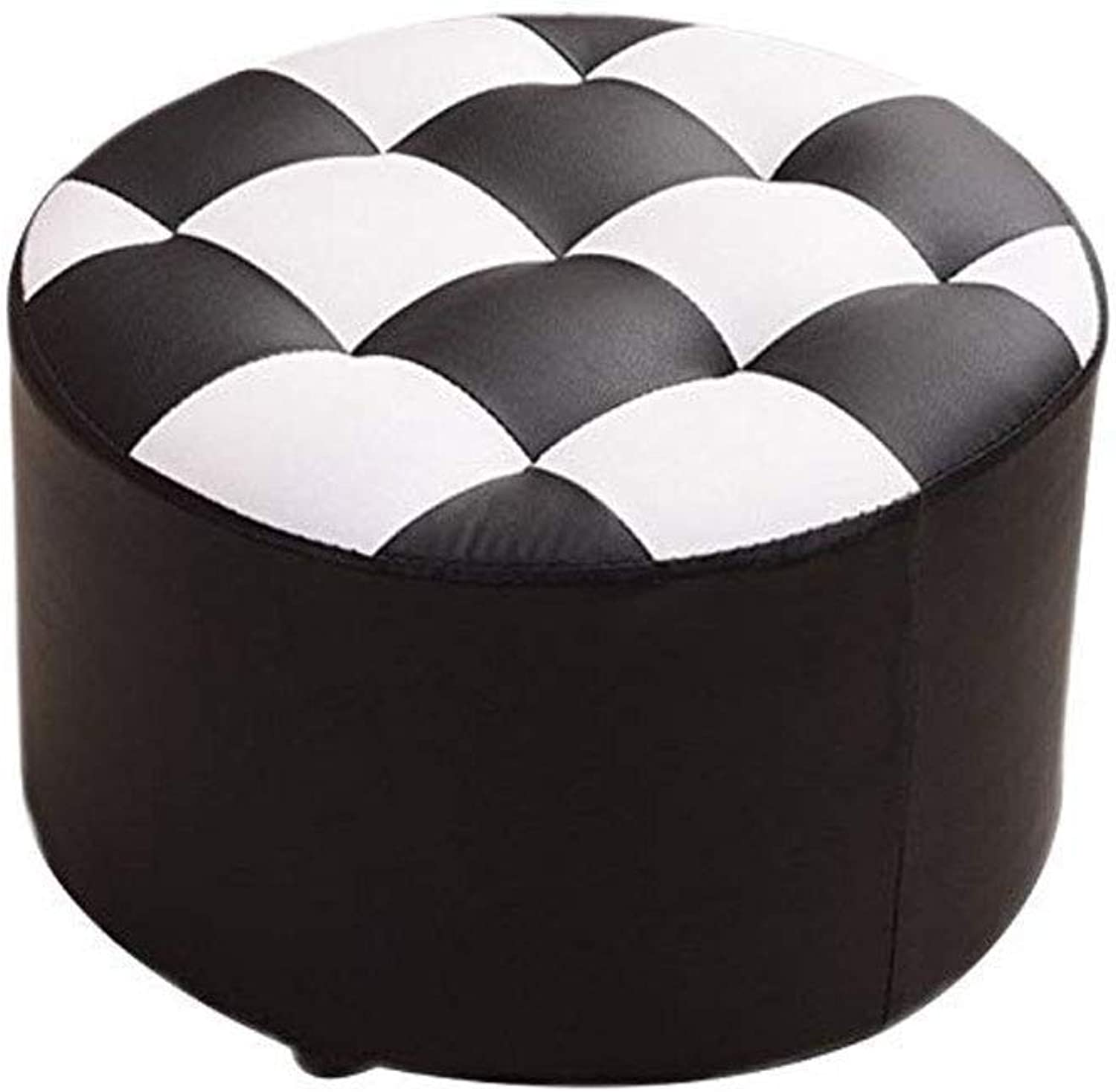 FS Footstool, Change shoes Bench Small Bench Round Short Coffee Table Stool Sofa Living Room Home Change shoes Bench 40×40×26cm (color   Black)