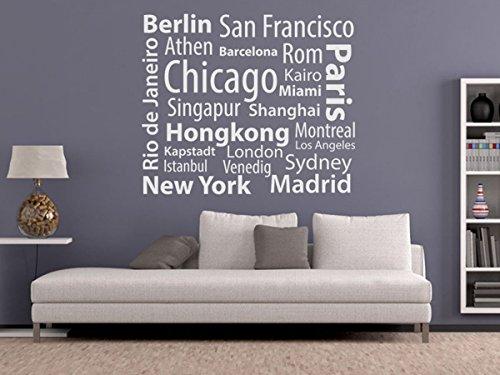 Wandtattoo-bilder® Wandtattoo Metropolen Nr 1 Länder Städte Kontinente Skylines New York Hongkong Paris Berlin Sydney Maimi Istanbul Größe 80x67, Farbe Schwarz