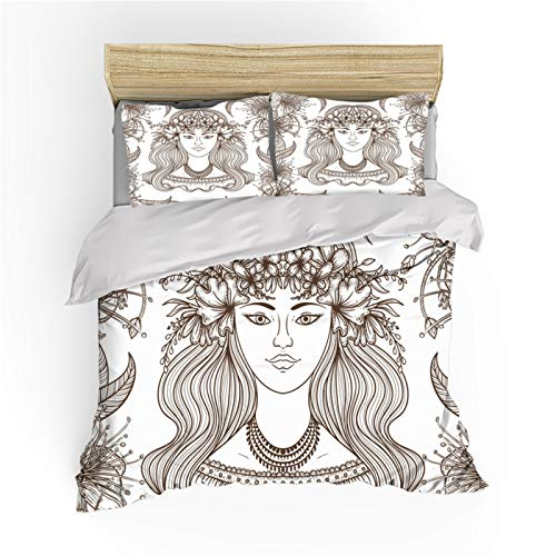 MOUMOUHOME Coffee Color Hand-painted Girl Comforter Cover Set 3D Flower Plant Printing King Size Bedding Set 1 Duvet Cover 2 Pillowcases Daughter Girlfriend Princess Gift
